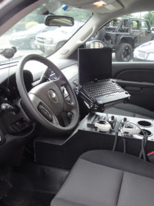 Interior View Light Controls, (2) PM 1500 Motorola Radios,  Siren Controls, PA System, Lenovo Laptop
